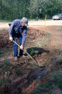 Rod Digging the Rain Garden